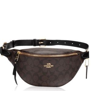 New Coach Black/Brown Signature Belt Bag $298